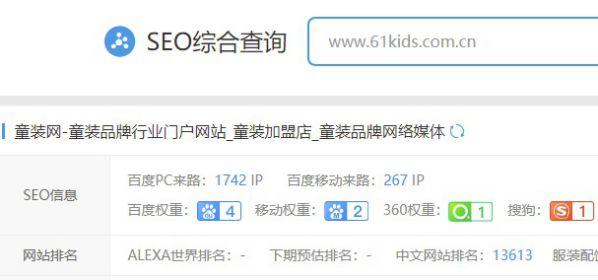 中国童装品牌网权重