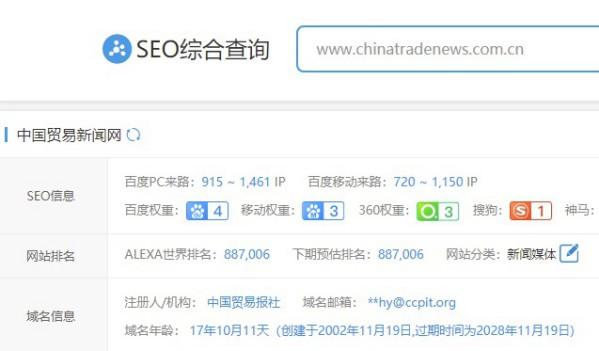 中国贸易新闻网权重